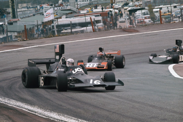 Jarama, Madrid, Spain. 26-28 April 1974.  Brian Redman (Shadow DN3 Ford) 7th position, gets sideways ahead of John Watson (Brabham BT42 Ford) 11th position and Hans-Joachim Stuck (March 741 Ford) 4th position.  Ref: 74ESP14. World Copyright: LAT Photographic