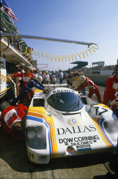 Le Mans, France. 16th -17th  June 1984.Tiff Needell/David Sutherland/Rusty French (Porsche 956), 9th position, pit stop and driver change, action. World Copyright: LAT Photographic.Ref:  84LM10.