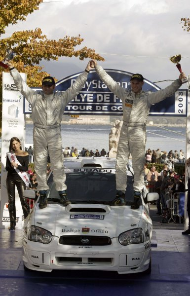 2003 FIA World Rally Champs. Round Twelve Corsica Rally 16th-19th October 2003.Production World Champion for 2003 Martin Rowe (R) celebrates with co-driver Trevor Agnew (L) after winning the championship in their Subaru Impreza Group N. World Copyright: McKlein/LAT