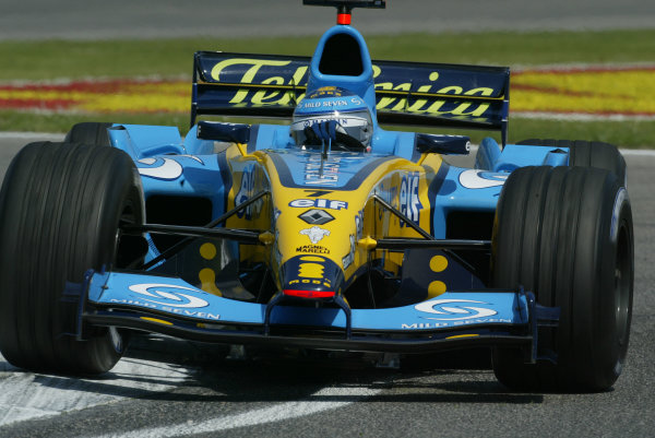 2004 San Marino Grand Prix - Friday Practice,Imola, Italy.23rd April 2004Jarno Trulli, Renault R24, action.World Copyright LAT PhotographicDigital image only.