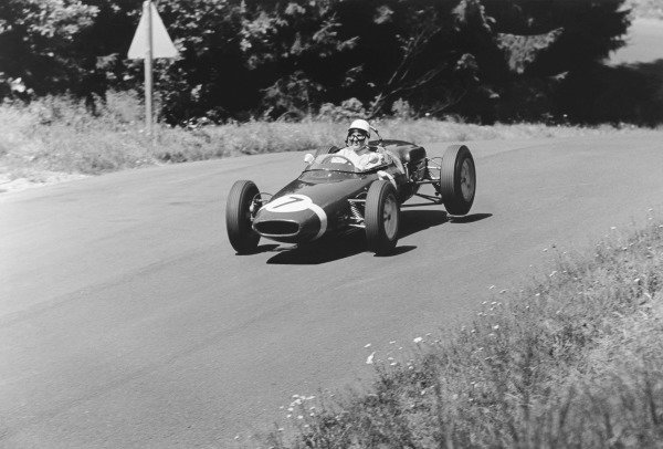 Nurburgring, Germany. 6th August 1961.Stirling Moss (Lotus 18/21-Climax), 1st position, action. World Copyright: LAT Photographic.Ref: 9334B - 27.