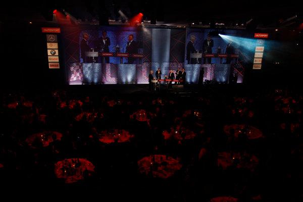 2014 Autosport Awards. Grosvenor House Hotel, Park Lane, London. Sunday 7 December 2014. George Russell wins the 2014 McLaren AUTOSPORT BRDC Award. World Copyright: Sam Bloxham/LAT Photographic. ref: Digital Image _G7C2769