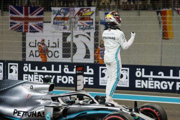 Lewis Hamilton, Mercedes AMG F1 W10, celebrates taking pole position