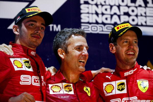 Charles Leclerc, Ferrari and Race winner Sebastian Vettel, Ferrari celebrate on the podium