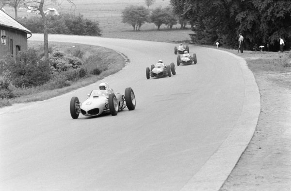 Olivier Gendebien, Ferrari 156, leads Phil Hill, Ferrari 156, Wolfgang von Trips, Ferrari 156, and Olivier Gendebien, Ferrari 156.