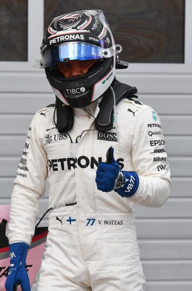 Pole sitter Valtteri Bottas (FIN) Mercedes AMG F1 celebrates in parc ferme at Formula One World Championship, Rd9, Austrian Grand Prix, Qualifying, Spielberg, Austria, Saturday 8 July 2017. BEST IMAGE