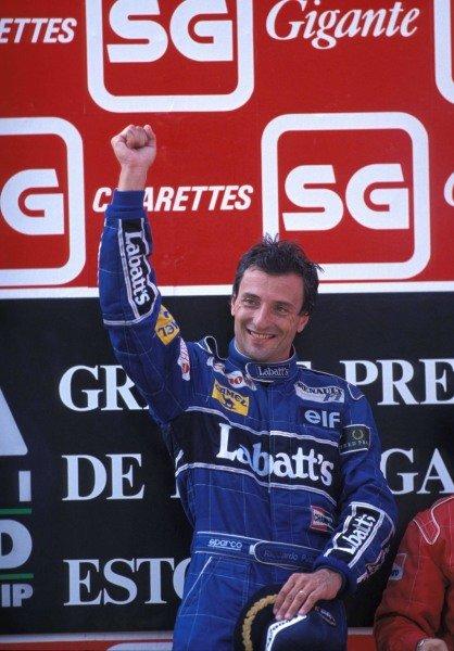 Riccardo Patrese, 1st position, on the podium.