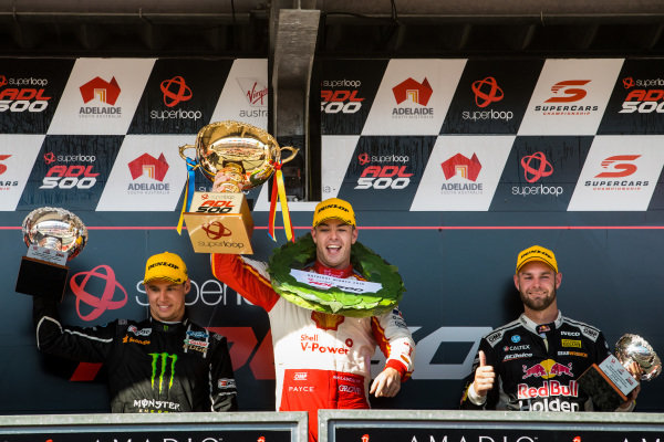 Cameron Waters, Tickford Racing Ford, Scott McLaughlin, DJR Team Penske Ford, Shane van Gisbergen, Triple Eight Race Engineering Holden