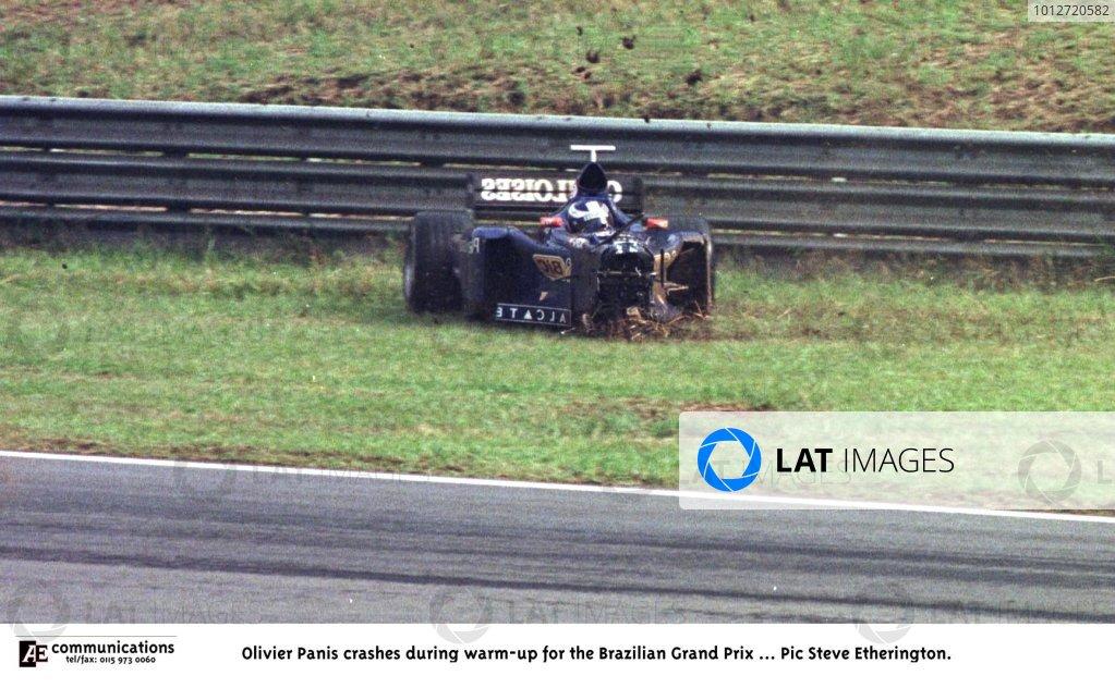 1998 Brazilian Grand Prix.Interlagos, Sao Paulo, Brazil.27-29 March 1998.Olivier Panis (Prost AP01 Peugeot) crashes during the warm-up.World Copyright - Steve Etherington/LAT Photographic