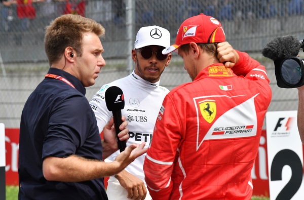 Davide Valsecchi (ITA) Sky Italia talks with Lewis Hamilton (GBR) Mercedes AMG F1 and Sebastian Vettel (GER) Ferrari after Qualifying at Formula One World Championship, Rd9, Austrian Grand Prix, Qualifying, Spielberg, Austria, Saturday 8 July 2017.