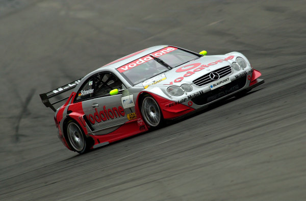 2002 DTM Championship Lausitzring, Germany. 12th - 14th July 2002. Race winner Bernd Schneider (AMG Mercedes CLK) , action.World Copyright: Andre Irlmeier/LAT Photographic ref: Digital Image Only