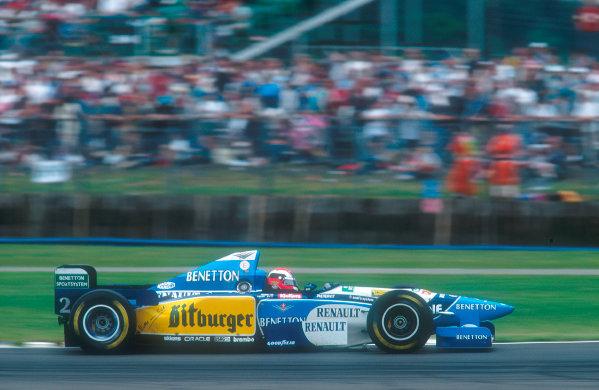 1995 British Grand Prix. Silverstone, England. 14-16 July 1995. Johnny Herbert (Benetton B195 Renault) 1st position for his maiden Grand Prix win. Ref-95 GB 09. World Copyright - LAT Photographic