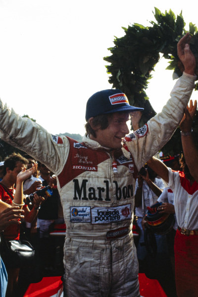 Thierry Boutsen celebrates victory.