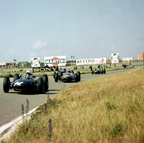 Zandvoort, Holland.21-23 May 1963.Richie Ginther (BRM P57) leads Dan Gurney (Brabham BT7 Climax) and Jo Bonnier (Cooper T60 Climax). Gurney and Ginther finished in 2nd and 5th positions respectively.Ref-3/0984.World Copyright - LAT Photographic