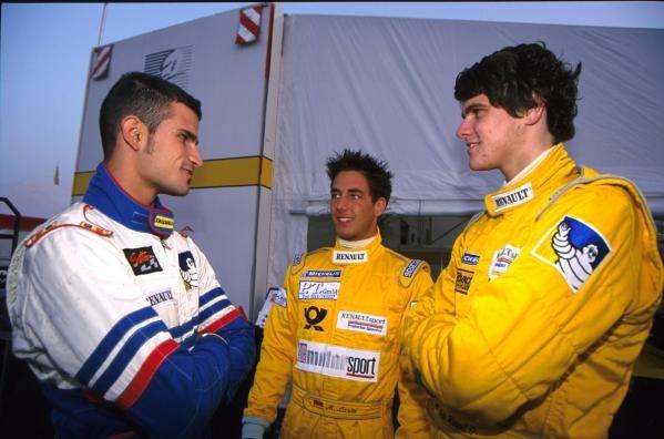 L to R; Vitantonio Liuzzi, Marcel Lasee and Maik Heupel.German Formula Renault Championship, 14 October 2001, Oschersleben, Germany.BEST IMAGE