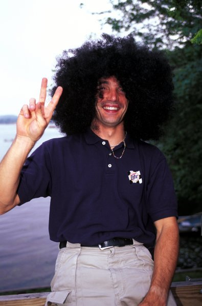Max Papis (ITA) Team Rahal wears an amazingly trendy wig!