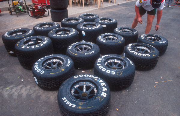 1992 South African Grand Prix.Kyalami, South Africa.28/2-1/3 1992.Some sets of wheels, tyred with Goodyear wets.Ref-92 SA 15.World Copyright - LAT Photographic