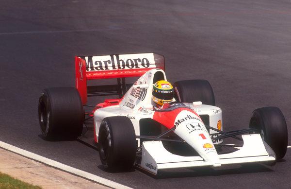 1992 South African Grand Prix.Kyalami, South Africa.28/2-1/3 1992.Ayrton Senna (McLaren MP4/6B Honda) 3rd position.Ref-92 SA 09.World Copyright - LAT Photographic