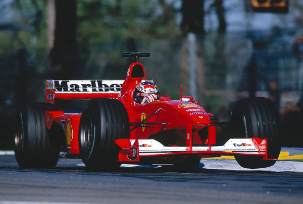 2000 San Marino Grand Prix.Imola, Italy. 7-9 April 2000.Michael Schumacher (Ferrari F1-2000) 1st position.Ref-2K SAN 27.World Copyright - LAT Photographic