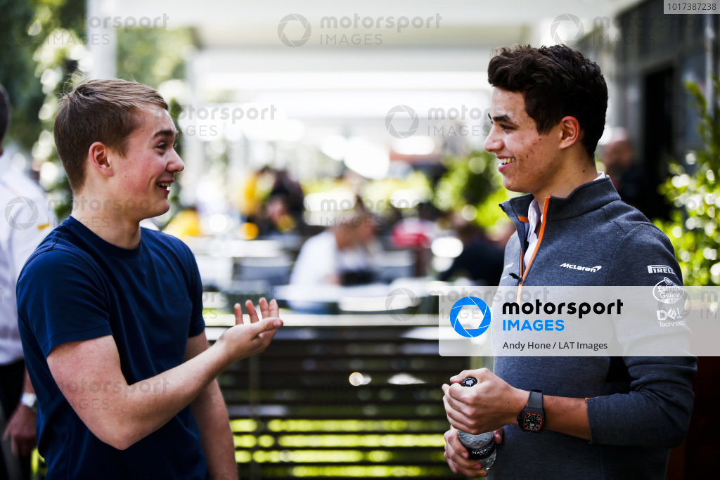 Billy Monger, Channel 4 TV Pundit and Lando Norris, McLaren