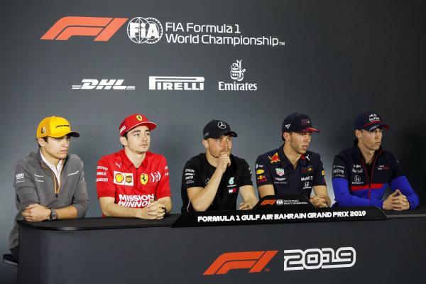 Lando Norris, McLaren, Charles Leclerc, Ferrari, Valtteri Bottas, Mercedes AMG F1, Pierre Gasly, Red Bull Racing and Daniil Kvyat, Toro Rosso in the Press Conference