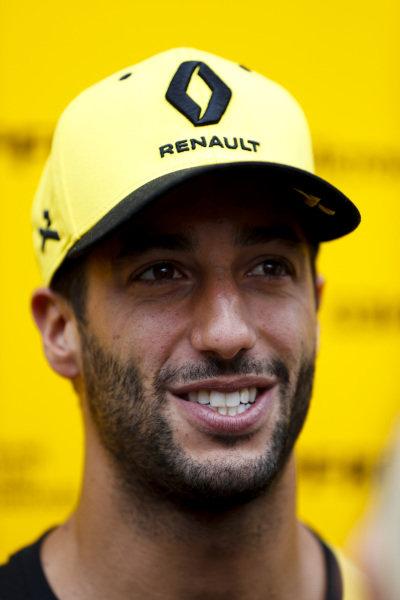 Daniel Ricciardo, Renault F1 Team speaks to the media