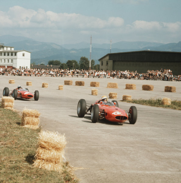Zeltweg, Austria.21-23 August 1964.Tony Maggs (BRM P57) leads Lorenzo Bandini (Ferrari Dino 156). They finished in 4th and 1st positions respectively.Ref-3/1392.World Copyright - LAT Photographic