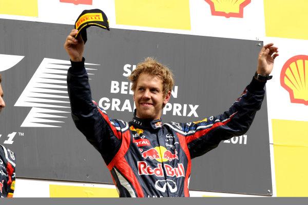 Spa-Francorchamps, Spa, Belgium28th August 2011.Sebastian Vettel, Red Bull Racing RB7 Renault, 1st position, on the podium. Portrait. Podium. World Copyright: Andy Hone/LAT Photographicref: Digital Image CI0C2452