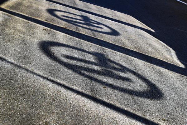 Circuit de Catalunya, Barcelona, Spain. Saturday 13 May 2017. Haas F1 logos via shadow. World Copyright: Steven Tee/LAT Images ref: Digital Image _R3I2421