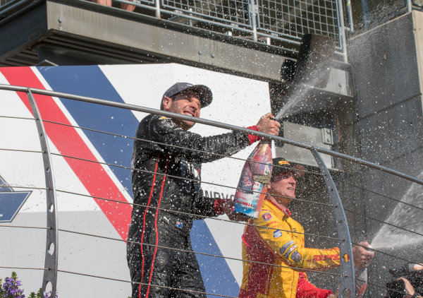 Verizon IndyCar Series IndyCar Grand Prix, Indianapolis Motor Speedway, Indianapolis IN USA Saturday 13 May 2017 Will Power, Team Penske Chevrolet, Ryan Hunter-Reay, Andretti Autosport Honda champagne World Copyright: Geoffrey M. Miller LAT Images