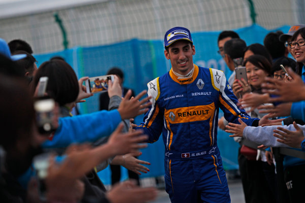 FIA Formula E Championship 2015/16. Beijing ePrix, Beijing, China. Sebastien Buemi (SUI), Renault e.Dams Z.E.15, celebrates his win Race Beijing, China, Asia. Saturday 24 October 2015 Photo: Sam Bloxham / LAT / FE ref: Digital Image _G7C8639
