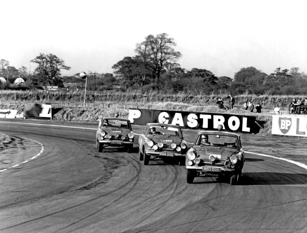 1964 RAC Rally of Great Britain.Oulton Park, Cheshire, England. 8th - 15th November 1964.Vic Elford/David Stone, Ford Cortina GT, 3rd position, leads team mates Henry Taylor/Brian Melica, Ford Cortina GT and David Seige-Morris/Tony Nash, Ford Cortina GT, 9th position, action.World Copyright: LAT Photographic.