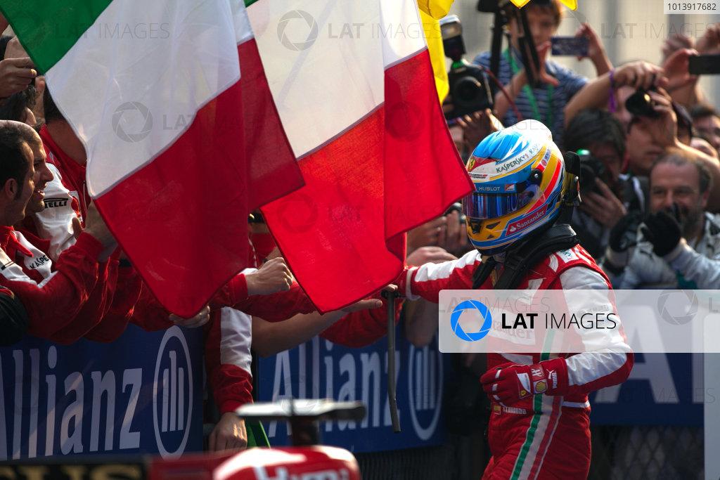 Shanghai International Circuit, Shanghai, China Sunday 14th April 2013 Fernando Alonso, Ferrari, 1st position, celebrates upon arrival in Parc Ferme. World Copyright: Andy Hone/LAT Photographic ref: Digital Image HONZ7783