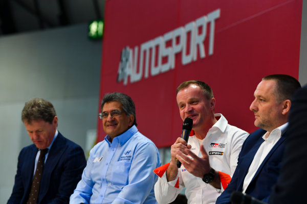 Autosport International Exhibition. National Exhibition Centre, Birmingham, UK. Thursday 11th January 2018. Malcolm Wilson, Michel Nandan, Tommi Makinen and Yves Matton talk to Henry Hope-Frost on the Autosport Stage. World Copyright: Mark Sutton/Sutton Images/LAT Images Ref: DSC_6672