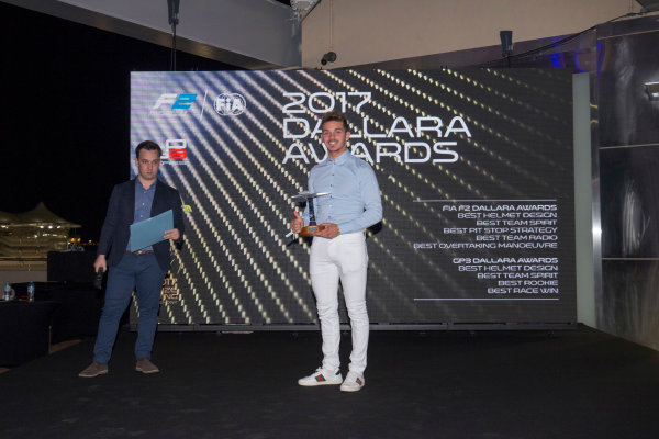 2017 Awards Evening. Yas Marina Circuit, Abu Dhabi, United Arab Emirates. Sunday 26 November 2017. Dorian Boccolacci (FRA, Trident).  Photo: Zak Mauger/FIA Formula 2/GP3 Series. ref: Digital Image _X0W0201