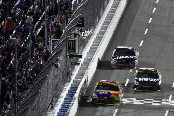Monster Energy NASCAR Cup Series First Data 500 Martinsville Speedway, Martinsville VA USA Sunday 29 October 2017 Kyle Busch, Joe Gibbs Racing, M&M's Halloween Toyota Camry takes the checkered flag and the win World Copyright: Nigel Kinrade LAT Images