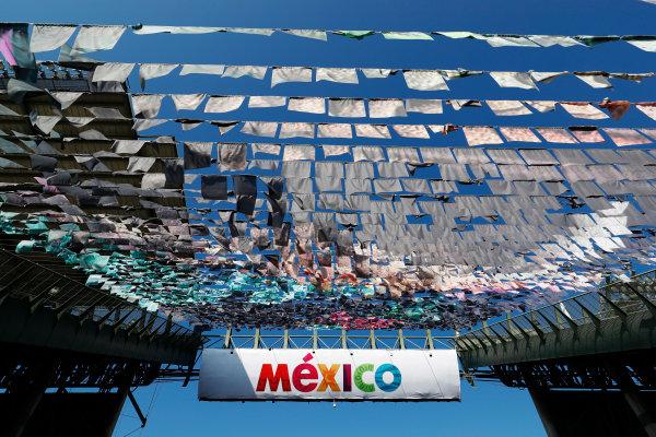 Autodromo Hermanos Rodriguez, Mexico City, Mexico. Thursday 26 October 2017. Signage above between the central grandstands. World Copyright: Sam Bloxham/LAT Images  ref: Digital Image _J6I8305