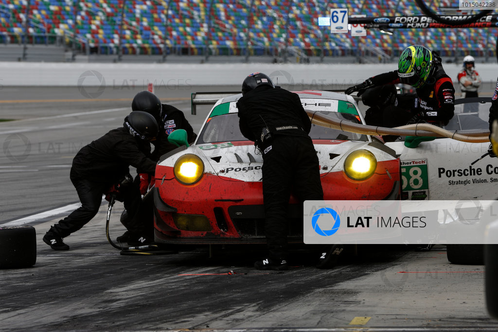 IMSA WeatherTech SportsCar Championship Rolex 24 Hours Daytona Beach, Florida, USA Sunday 28 January 2018 Pitstop, #58 Wright Motorsports Porsche 911 GT3 R, GTD: Patrick Long, Christina Nielsen, Robert Renauer, Mathieu Jaminet World Copyright: Jake Galstad LAT Images  ref: Digital Image galstad-DIS-ROLEX-0118-308963