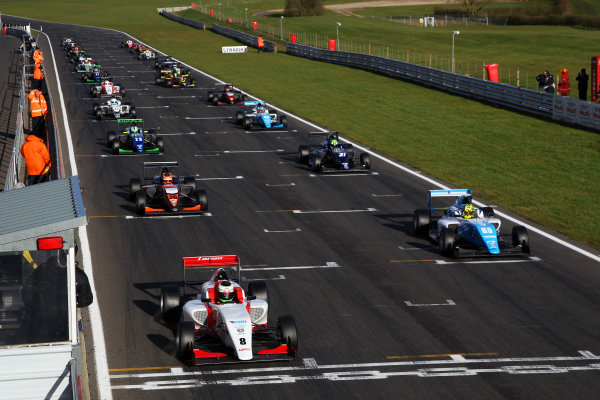 2016 BRDC British Formula 3 Championship, Snetterton, Norfolk. 27th - 28th March 2016. Race 3 Grid, Toby Sowery (GBR) Lanan Racing BRDC F3 on pole position. World Copyright: Ebrey / LAT Photographic.