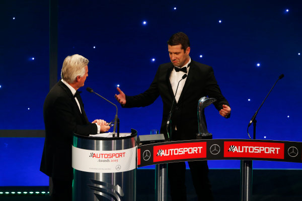 2015 Autosport Awards. Grosvenor House Hotel, Park Lane, London. Sunday 6 December 2015. Rally Car of the Year, Volkswagen Polo R WRC, Jost Capito and Francois-Xavier Demaison. World Copyright: Sam Bloxham/LAT Photographic. ref: Digital Image _SBL4710