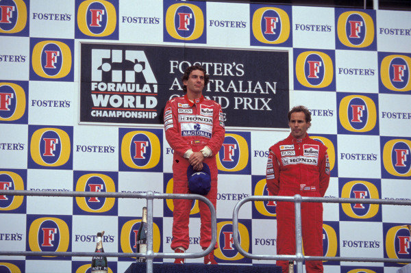 Ayrton Senna, 1st position, and Gerhard Berger, 3rd position, on the podium.