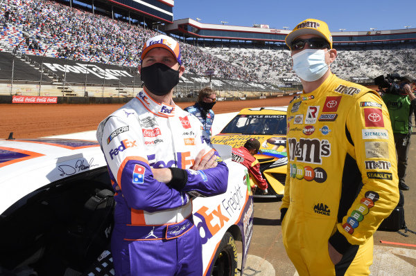 #11: Denny Hamlin, Joe Gibbs Racing, Toyota Camry FedEx Freight, #18: Kyle Busch, Joe Gibbs Racing, Toyota Camry M&M's Messages