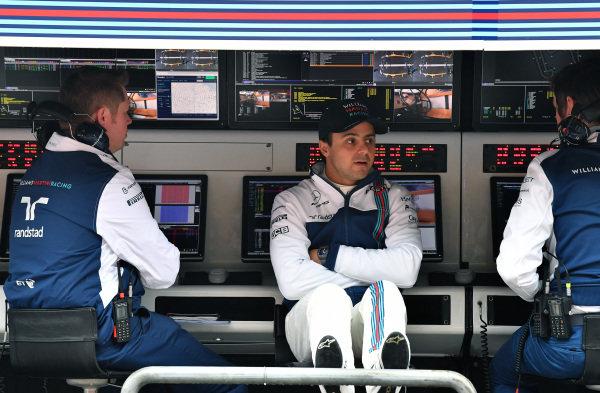 Felipe Massa (BRA) Williams on the Williams pit wall gantry at Formula One World Championship, Rd2, Chinese Grand Prix, Practice, Shanghai, China, Friday 7 April 2017.
