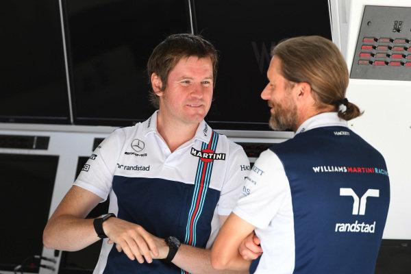 Rob Smedley (GBR) Williams Head of Vehicle Performance and Carl Gaden (GBR) Williams at Formula One World Championship, Rd9, Austrian Grand Prix, Preparations, Spielberg, Austria, Thursday 6 July 2017.