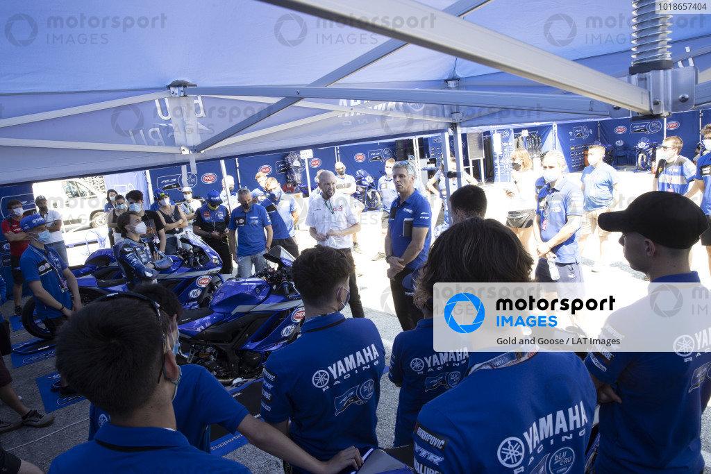 Yamaha R3 cup riders, paddock.
