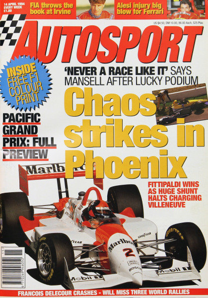 Cover of Autosport magazine, 14th April 1994