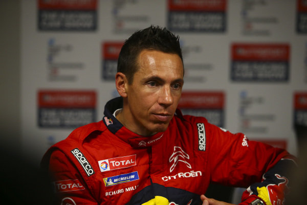 The Citroen WRC team participates in a roundtable media session.