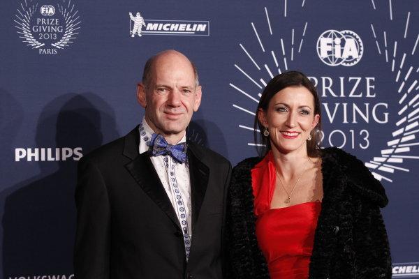 2013 FIA Gala Dinner and Awards. Paris, France. Friday 6th December 2013. Adrian and Marigold Newey. World Copyright & Mandatory Credit: FIA. ref: Digital Image 11242102326_34c35d42e9_o