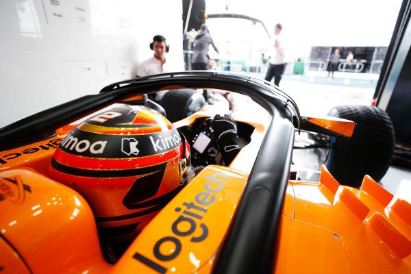 Stoffel Vandoorne, McLaren, in cockpit.