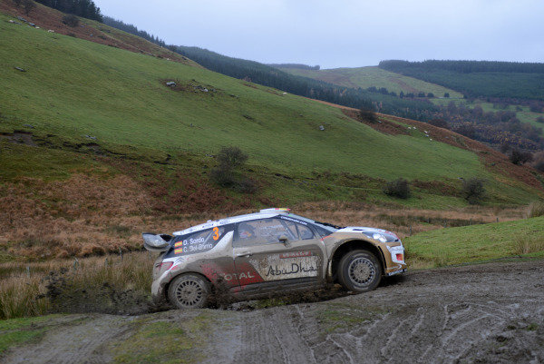 Dani Sordo (ESP) and Carlos Del Barrio (ESP), Citroen DS3 WRC on stage 18. FIA World Rally Championship, Rd13, Wales Rally GB, Deeside, Wales, Day Three, Sunday 17 November 2013.